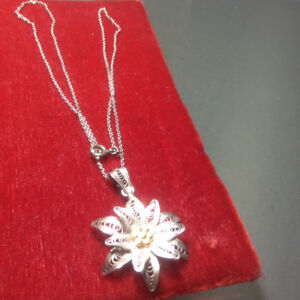 Sterling Silver Necklace Vintage Antique Chinese