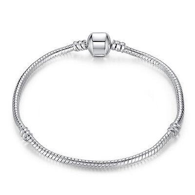 20Cm Wostu 925 Silver European Christmas Snake Bracelet Chain For Women Jewelry
