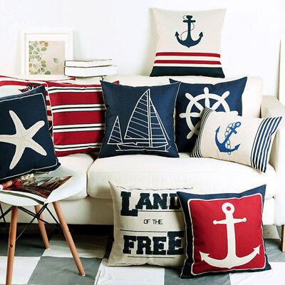 Navigation Navy Blue Nautical Shell Starfish Linen Pillow Marine Cushion Cover  - Navy Pillow