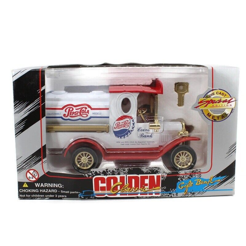 Golden Classic Pepsi Cola Tanker Truck Gift Bank Special Edition Diecast Metal