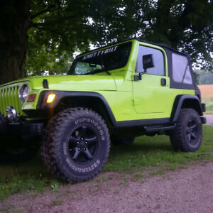 Lime green jeep