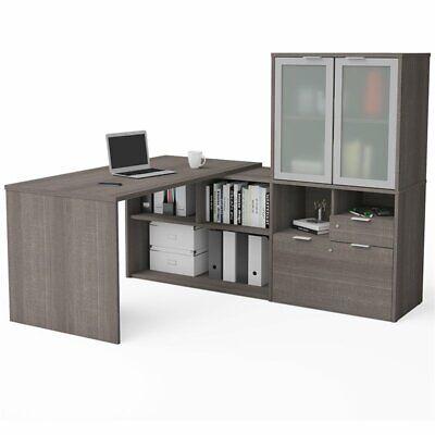 Bestar i3 Plus L Shape Computer Desk with Hutch in Bark - Bestar Hutch