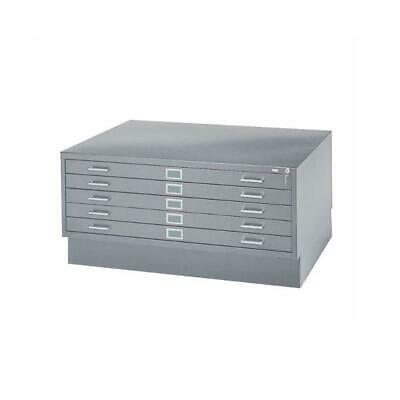 Safco 5 Drawer Flat File Cabinet With Closed Base In Gray