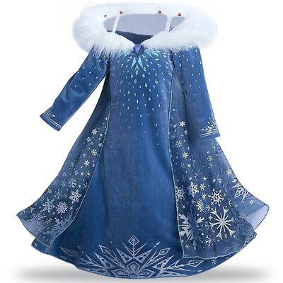 Elsa Snow Princess (Elsa Anna Deluxe Snow Princess Adventure winter Long sleeve Thiken Fancy)