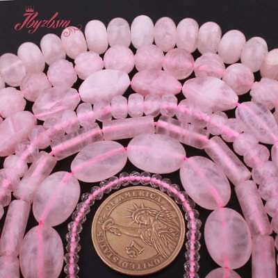 """Rose Quartz Natural Crystal Stone Loose Bead For DIY Necklace Jewelry Making 15"""""""