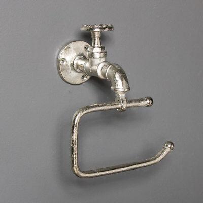 Metal Plateado Inodoro Papel Higiénico Soporte Retro Industrial Baño Accesorios