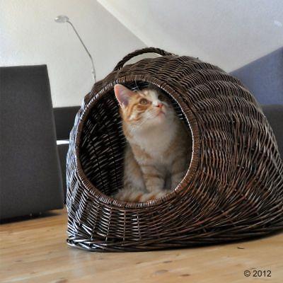 XXL Cat Basket Wicker Bed Large Metal Door Travel Trip Holiday Vet Cosy Brown
