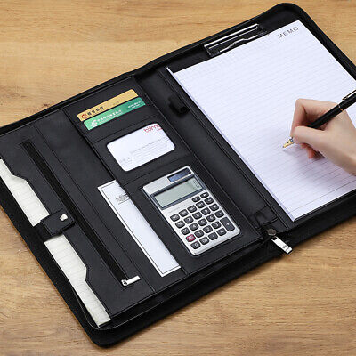 Zipper Clipboard Folder Portfolio Leather Storage Cover For Letter Writing Pad