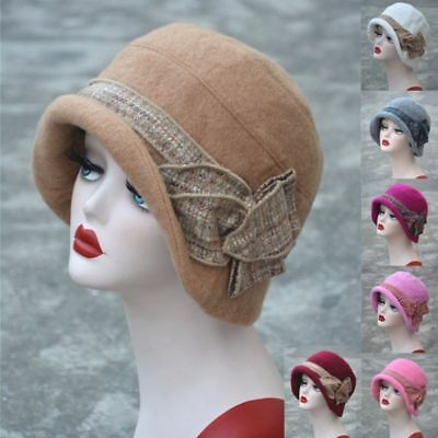 Womens 1920s Gatsby Flapper Girl Downtown Abbey Cloche Bucket Wool Hats A374