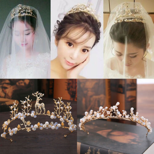 YNYA Tiaras Bridal Crown Diana Pearl-Style Princess 妃 Stage Headband Wedding Accessories Accessories Gifts
