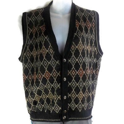 Alfani Mens Size Medium Knit Sweater Vest Diamond Geometric Pattern Wool Blend
