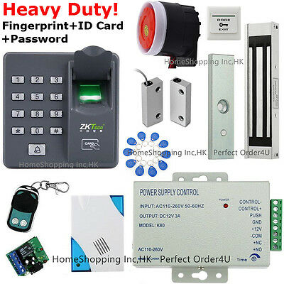 Fingerprint+RFID Door Access Control System+Magnetic Lock+Door Sensor+Remote USA