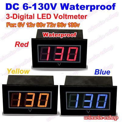 Waterproof Voltage Test Meter Dc 6v-130v 12v 24v 3-digital Led Voltmeter Battery