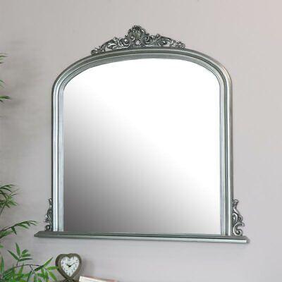 Plateado Grande Overmantel Espejo de Pared Vintage Francés Shabby Chic Salón
