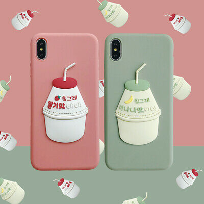 For iPhone Korean Cartoon 3D Yogurt Drink Couple Silicone Phone Case Soft Cover](Cartoon Couples)