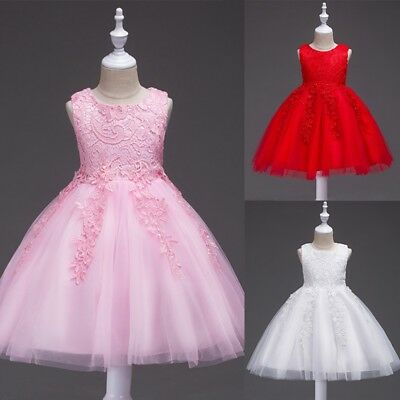 Girl Princess Lace Flower Dress Bridesmaid Wedding Gown Tulle Tutu for Baby Kids - Dress For Girl