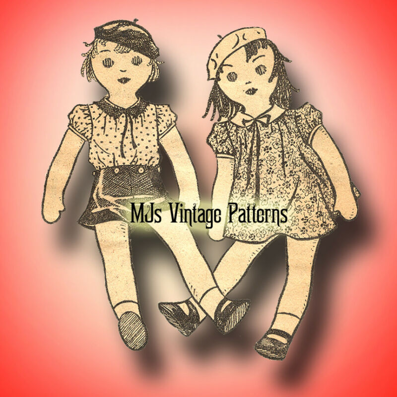 "SUPER RARE 1930s Vintage Pattern ~ Boy & Girl Dolls COMBO 17"" tall"