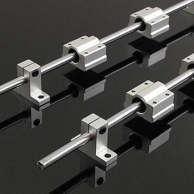 2x 400mm Linear Shaft Rail4x Sk8 Scs8uu Guide Bearing Block For 3d Printer Cnc