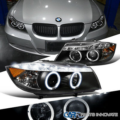 2006 2008 Bmw E90 3 Series 325I 330I 4Dr Black Dual Halo Projector Led Headlight