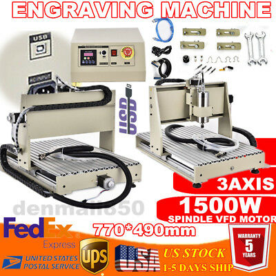 Usb 3axis Cnc 6040 Router Engraver 3d Cutting Milling Machine Ballscrew 1.5kw Ce