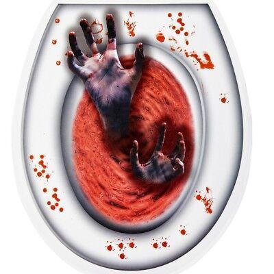 Halloween Deko BLUTIGE ZOMBIE-HÄNDE Toiletten Sticker WC Deckel Aufkleber #809