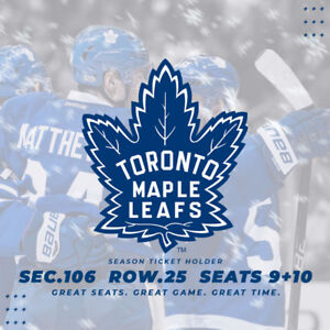TORONTO MAPLE LEAFS SEASON TICKETS - ONLY 4 GAMES LEFT!