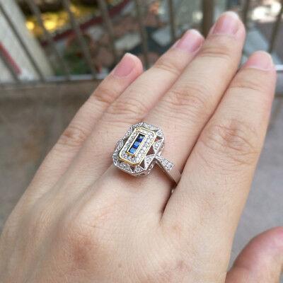 Gemstone Ring For Women Vintage Blue Sapphire White CZ 925 Sterling Silver Sz 8