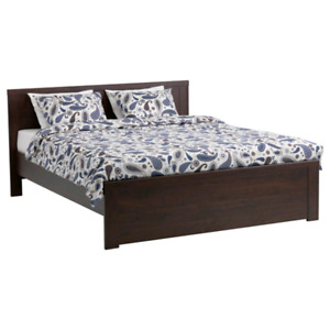 Ikea Brusali Double Bed, storage boxes and Ikea Sultan mattress
