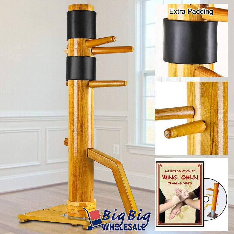 Wing Chun Wooden Dummy Stand Training Target Martial Arts Kong Fu Practice DVD
