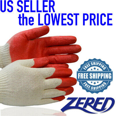 Wholesale 300 Pairs Of Zered The Red Latex Rubber Palm Coated Work Gloves