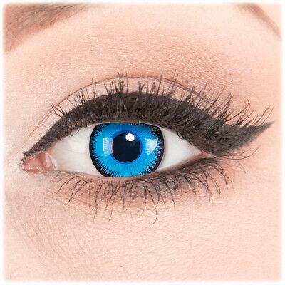 Crazy Fun Kontaktlinsen Blau mit Stärke / Sehstärke Alper für Halloween Fasching