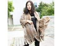DAYMISFURRY--Knitted Rabbit Fur Shawl with Fringes