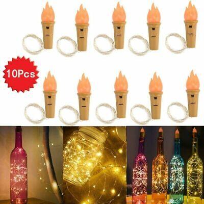 10x 2M LED Solar Copper Cork Wire String Fairy Lights Wine Bottle Decor Lamp UK