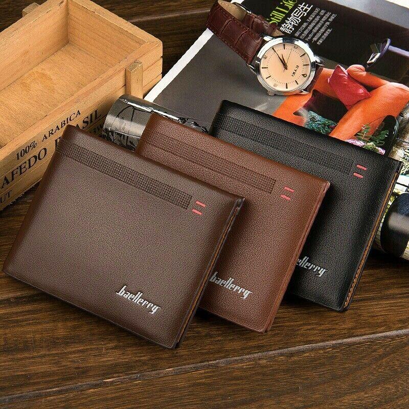 Men's Bifold Short Leather Wallet ID Card Holder Purse Slim Clutch Handbag US Clothing, Shoes & Accessories