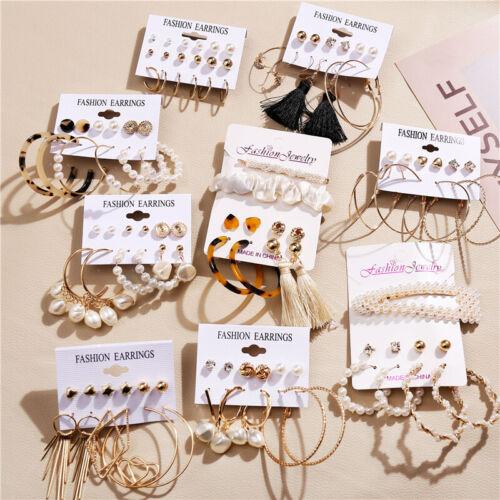 26 Pairs Fashion Women Earrings Set Rhinestone Crystal Pearl Ear Stud Jewelry