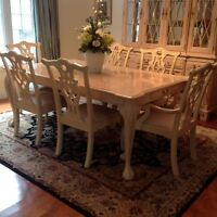 Complete Dining Room Set with Buffet/Glass Cabinet & Server