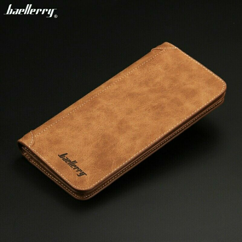 Men Bifold Wallet Leather Brown Clutch Card Holder Phone Purse Long Handbag US Clothing, Shoes & Accessories