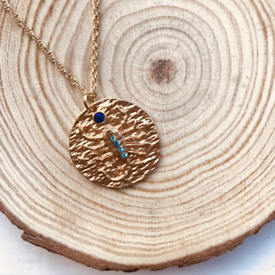 Scorpio Zodiac Star Sign Gold Disc Necklace