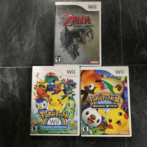 WII Games: PokePark 1 & 2, Legend of Zelda Twilight Princess