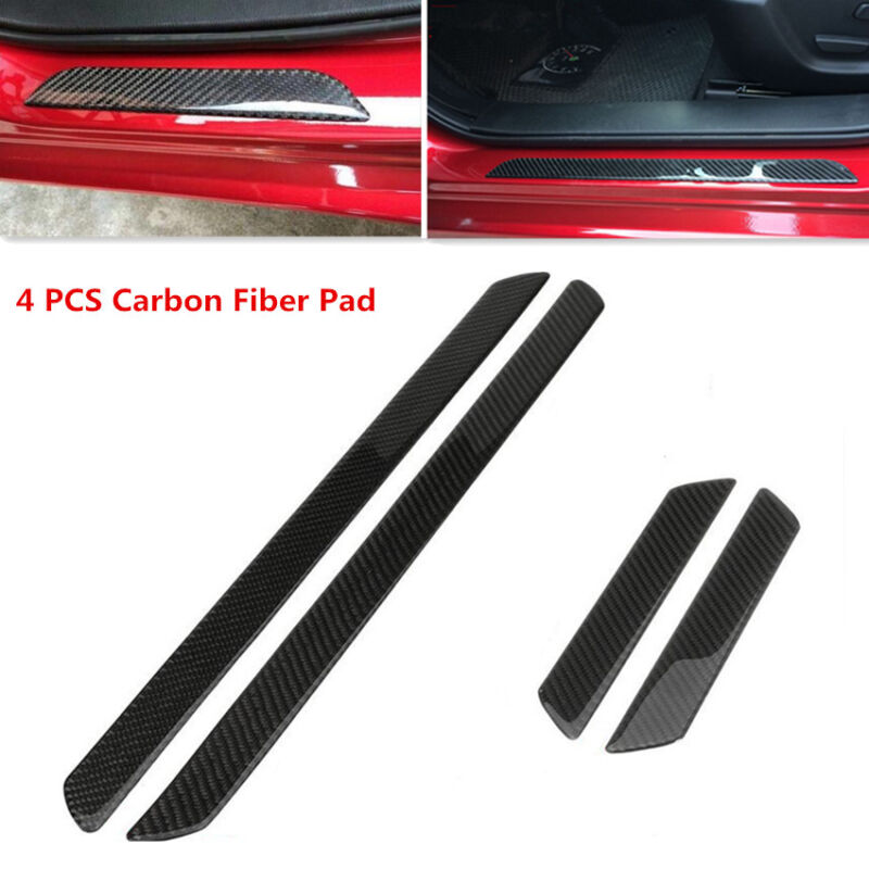 4x Carbon Fiber Car Door Scuff Plate Sill Trim Panel Cover Step Protector Pad