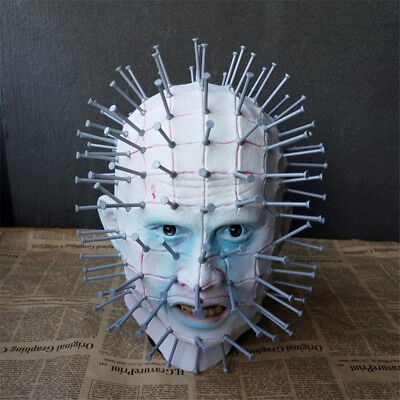 Pinhead Halloween Mask (Hellraiser Mask Pinhead Ghost Scary Latex Helmet Halloween Horror Cosplay)