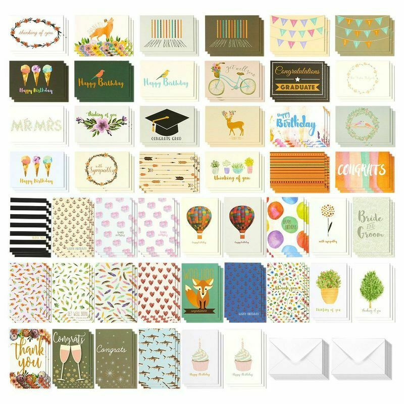 Lot of 144 Assorted All Occasion Greeting Birthday Cards Bulk Box Set w/Envelope