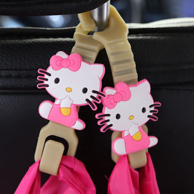 2pcs Cute Hello Kitty Car Back Seat Headrest Hanger Holder Seat Hooks Bag Purse