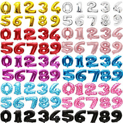 Number Balloons 16 32 inch Birthday Party Wedding Blue Black Red Gold Silver