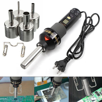 110V 200W Lcd Display Electronic Hot Air Heat Gun Soldering Station 4 Nozzle Us