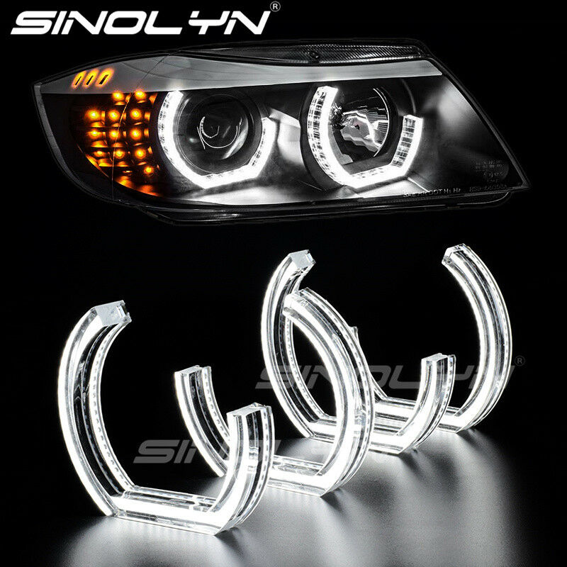 White LED Angel Eyes DRL Acrylic DTM M4 Style for BMW 3 Series E90 E92 E93 M3