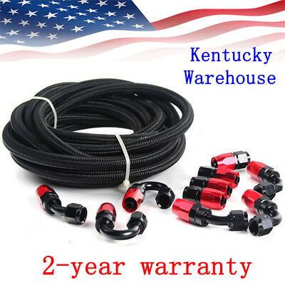 Braided 3/8 Fuel Line -6 AN Oil/Gas/Fuel Hose Line Aluminum Hose End Fitting Kit