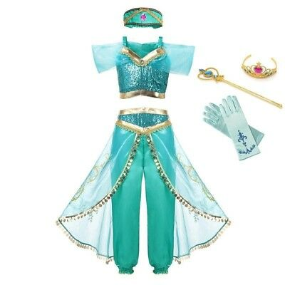 Arabian Princess Dress Costume for Girls Sleeveless Jasmine Cosplay Dresses