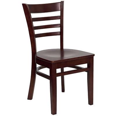 Wood Frame Mahogany Finish Ladder Back Restaurant Chair Matching Wood Seat