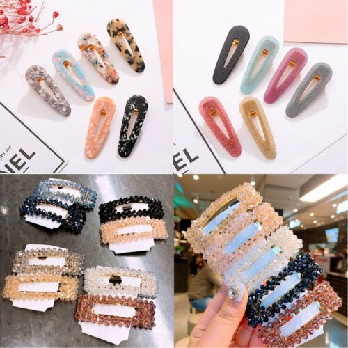 Hot Crystal Women Hair Slide Clips Snap Barrette Hairpin Hairband Accessories